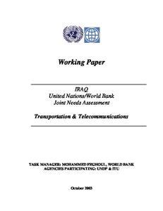 World Bank Joint Needs Assessment. Transportation & Telecommunications
