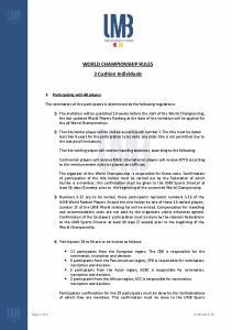 WORLD CHAMPIONSHIP RULES 3 Cushion Individuals