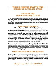 WORLD FAMOUS KNOTTY PINE BARBECUE CATERING GUIDE