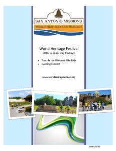 World Heritage Festival 2016 Sponsorship Package