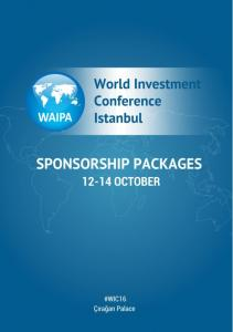 World Investment Conference 2016 Istanbul Sponsorship Packages October 12-14