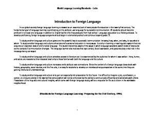 World Language Learning Standards Latin