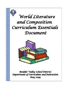 World Literature and Composition Curriculum Essentials Document