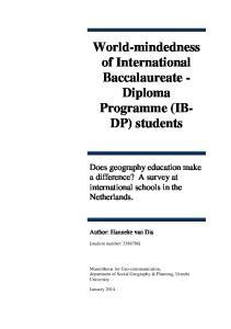 World-mindedness of International Baccalaureate - Diploma Programme (IB- DP) students