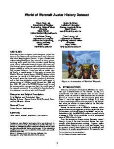 World of Warcraft Avatar History Dataset