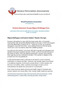 World Psychiatric Association:  Position Statement: Europe Migrant & Refugee Crisis