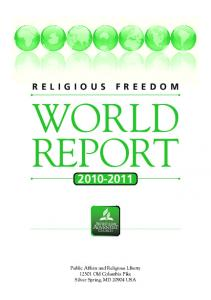 WORLD REPORT Public Affairs and Religious Liberty Old Columbia Pike Silver Spring, MD USA
