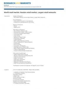 World retail market. Russian retail market. Largest retail networks