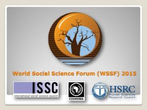 World Social Science Forum (WSSF) 2015