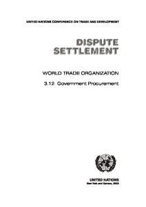 WORLD TRADE ORGANIZATION Government Procurement