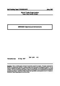 World Trade Organization Trade Policy Review Division