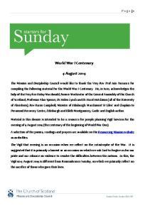 World War I Centenary. 4 August 2014