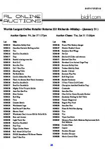 Worlds Largest Online Retailer Returns 221 Richards -Midday - (January 31 )