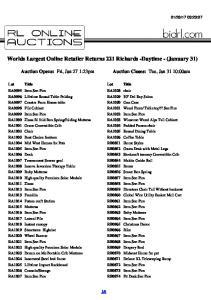 Worlds Largest Online Retailer Returns 221 Richards -Daytime - (January 31)