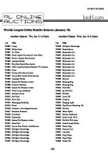 Worlds Largest Online Retailer Returns (January 18)