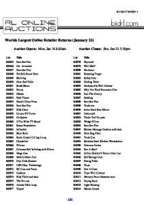 Worlds Largest Online Retailer Returns (January 22)