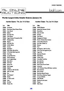 Worlds Largest Online Retailer Returns (January 24)