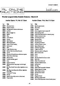 Worlds Largest Online Retailer Returns - March 25