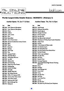 Worlds Largest Online Retailer Returns - MODESTO - (February 2)