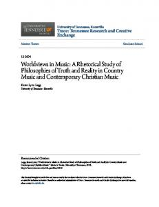 Worldviews in Music: A Rhetorical Study of Philosophies of Truth and Reality in Country Music and Contemporary Christian Music
