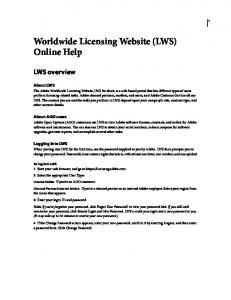 Worldwide Licensing Website (LWS) Online Help