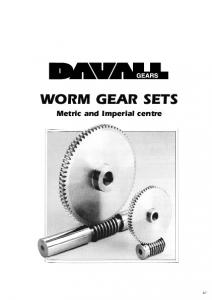 WORM GEAR SETS. Metric and Imperial centre