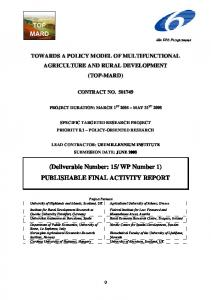 WP Number 1) PUBLISHABLE FINAL ACTIVITY REPORT