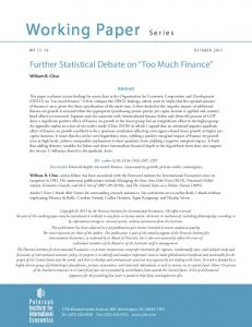 WP OCTOBER Further Statistical Debate on Too Much Finance. Abstract