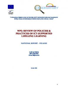 WP2: REVIEW OF POLICIES & PRACTICES OF ICT-SUPPORTED LIFELONG LEARNING