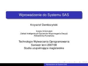 Wprowadzenie do Systemu SAS