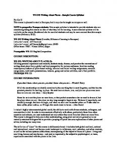 WR 353 Writing About Places Sample Course Syllabus
