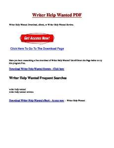 Writer Help Wanted PDF
