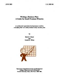 Writing a Business Plan: A Guide for Small Premium Wineries