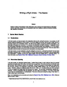 Writing a L A T E X Article The Basics