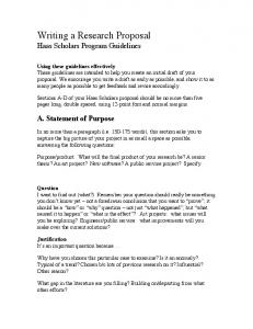 Writing a Research Proposal Haas Scholars Program Guidelines