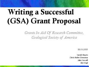 Writing a Successful (GSA) Grant Proposal