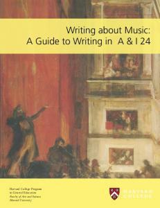 Writing about Music: A Guide to Writing in A & I 24