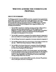 WRITING ACROSS THE CURRICULUM PROPOSAL