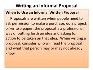 Writing an Informal Proposal