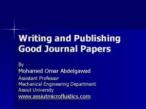 Writing and Publishing Good Journal Papers