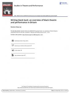 Writing black back: an overview of black theatre and performance in Britain