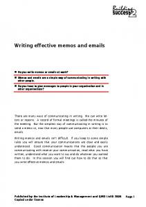 Writing effective memos and  s