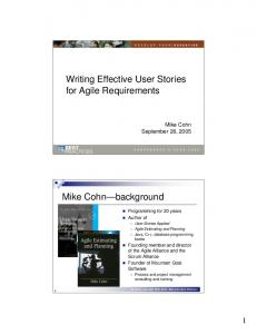 Writing Effective User Stories for Agile Requirements