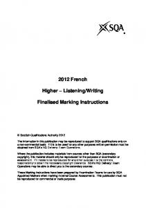 Writing. Finalised Marking Instructions