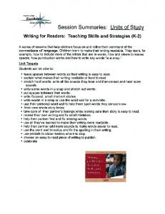 Writing for Readers: Teaching Skills and Strategies (K-2)