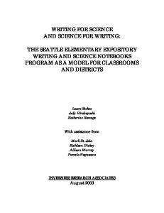 WRITING FOR SCIENCE AND SCIENCE FOR WRITING: