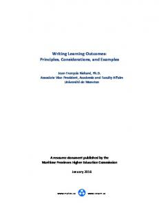 Writing Learning Outcomes: Principles, Considerations, and Examples