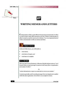WRITING MEMOS AND LETTERS