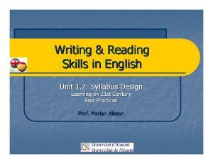 Writing & Reading Skills in English