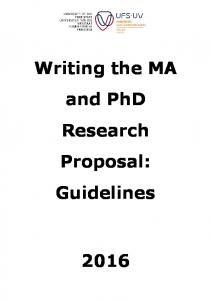 Writing the MA and PhD Research Proposal: Guidelines